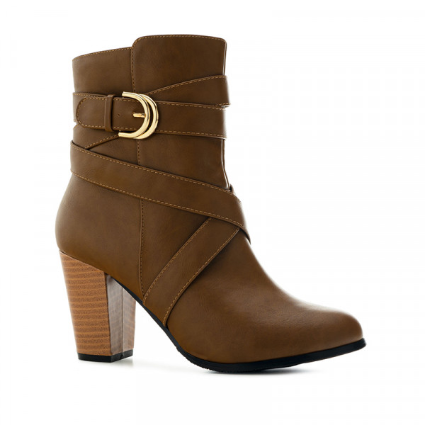 Andres Machado 4154-05 Heeled Ankle Boot Brown 9cm