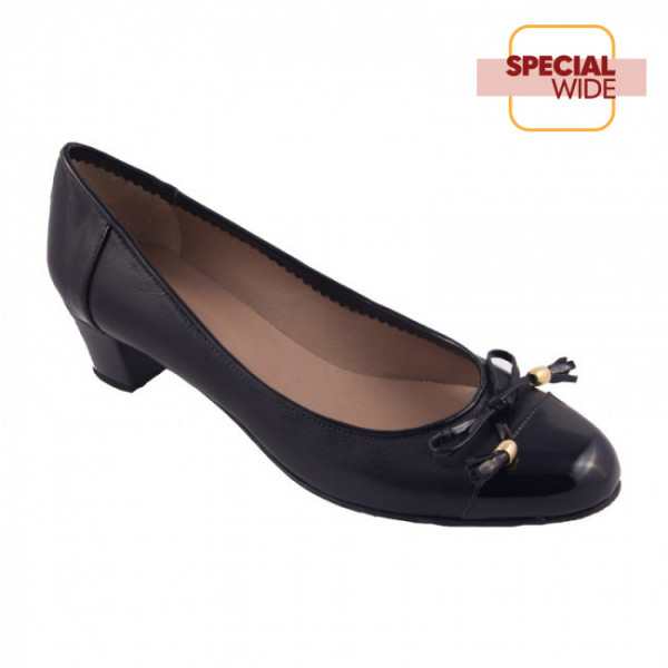 Bigshoes MX1627-01 Leather Pumps Black 3.5cm