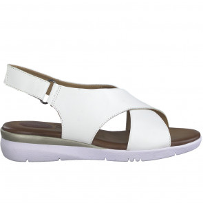 Jana 28214-34-100 Leather Flat Sandal White