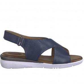 Jana 28214-34-805 Leather Flat Sandal Blue