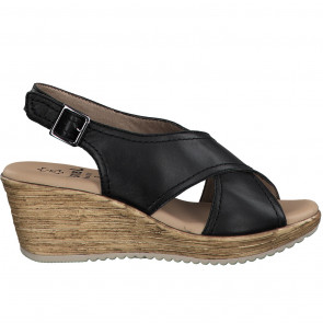 Jana 28331-34-001 Leather Wedge Black 3.5cm