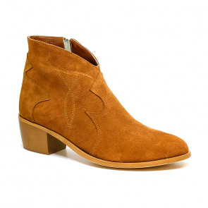 Bigshoes MX2004-09 Leather Ankle Boots Cigar 5.5cm