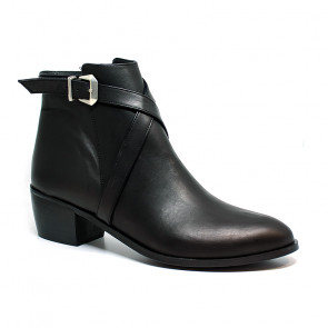 Bigshoes MX2036-01 Leather Ankle Boots Black 5.5cm