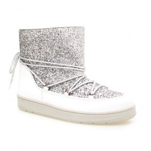 Lazamani Silver Flat Boots 9459 Leather Boots Sliver