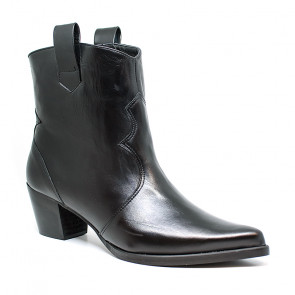 Bigshoes MX1921-01Δ Leather Ankle Boots Black 6cm