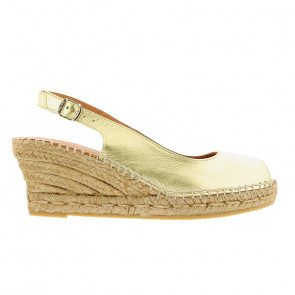 Toni Pons Croacia-06 Leather Gold Wedges 7cm