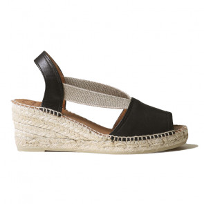Toni Pons Teide-01 Leather Black Wedges 6cm