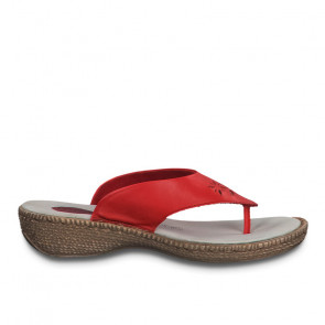 Jana 27113-24-500 Leather Flat Sandal Red